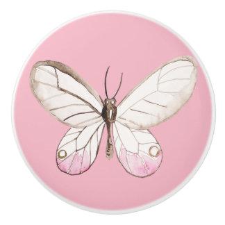 Elegant Blush Butterfly Pink Ceramic Knob