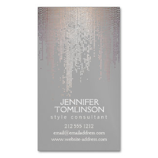Elegant Blush Confetti Dots on Light Gray Magnetic Magnetic Business Cards