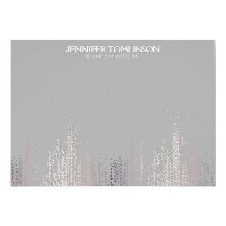 Elegant Blush Confetti Rain Pattern Gray Notecard 13 Cm X 18 Cm Invitation Card