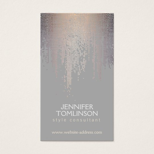 Elegant Blush Confetti Rain Pattern Grey Business Card