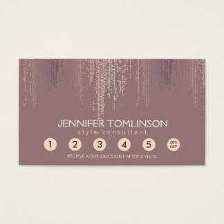 Elegant Blush Confetti Rain Pattern Loyalty Card