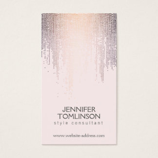 Elegant Blush Confetti Rain Pattern Pink Business Card