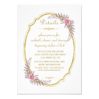 Elegant Blush Floral Gold Frame Wedding Details Card