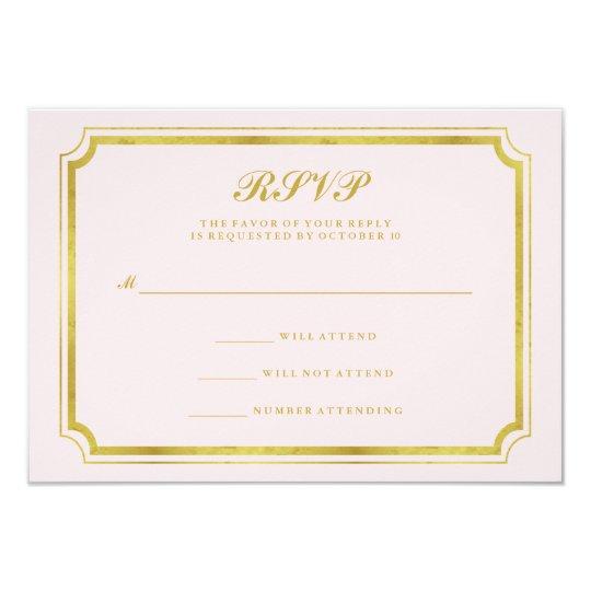 Elegant Blush Pink and Faux Gold Wedding RSVP