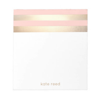 Elegant Blush Pink and Gold Stripes Name Notepads