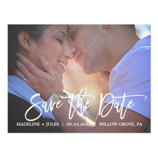 Elegant Blush Pink and Navy Save the Date Photo Postcard