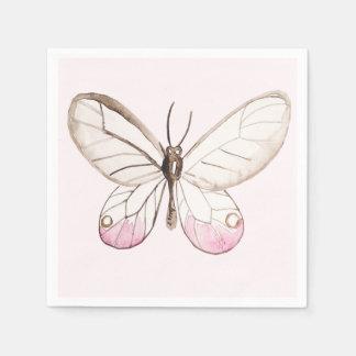 Elegant Blush Pink Butterfly Paper Napkins