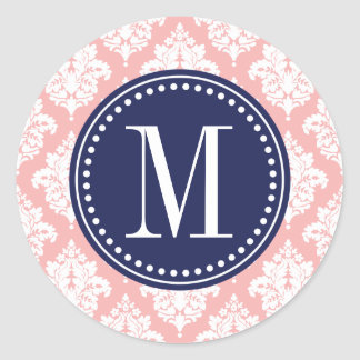 Elegant Blush Pink Damask Personalized Sticker