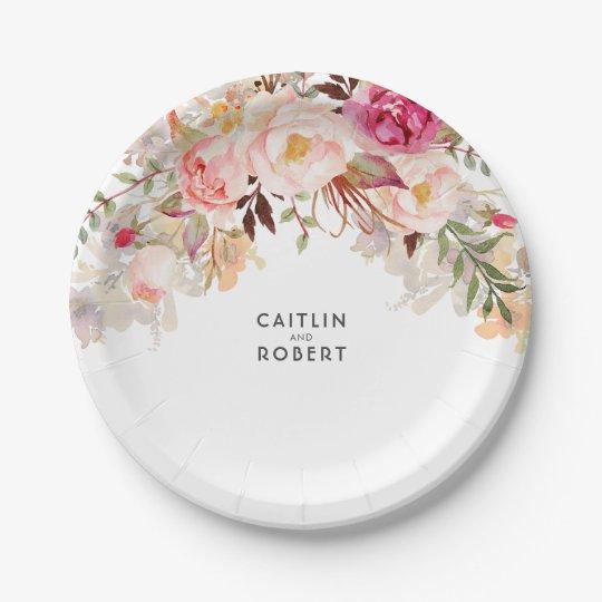Elegant Blush Pink Floral Watercolor Wedding Paper Plate