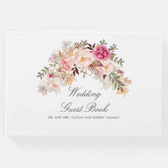 Elegant Blush Pink Floral Wedding Guest Book