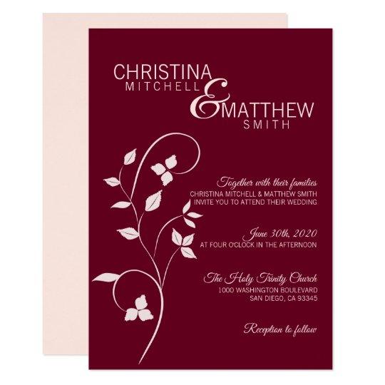 Burgundy Blush Pink Flowers Mason Jar Wedding Invitation