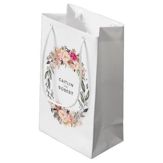 Elegant Blush Pink Watercolor Flowers Wedding Small Gift Bag
