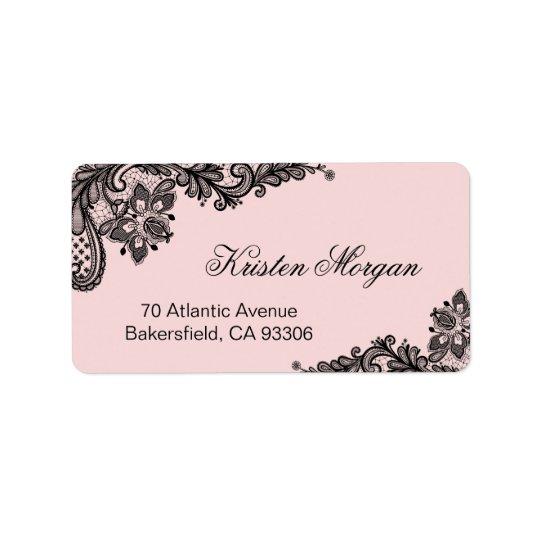 Elegant Blush Pink with Black Lace Unique Address Label
