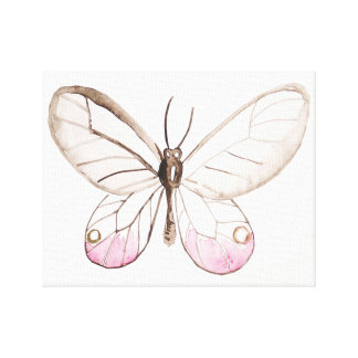 Elegant Blush Watercolor Butterfly Canvas Print