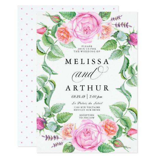 Elegant Boho Botanic Floral Roses Wedding Card