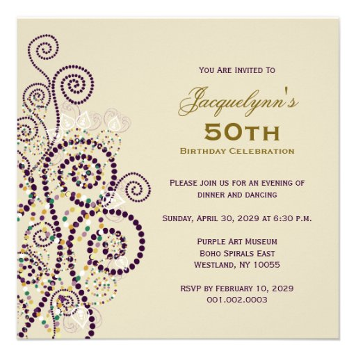 Elegant Boho Purple Spirals Birthday Party Invite Invites