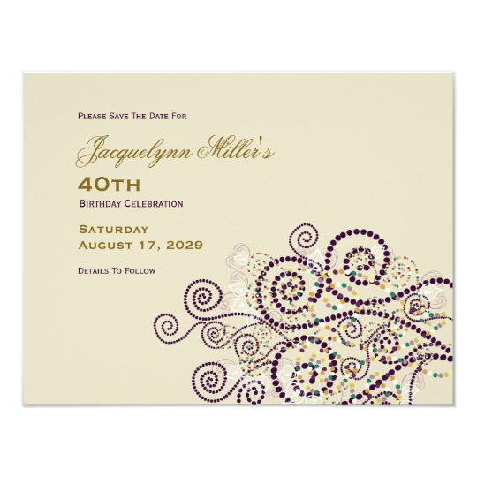 Elegant Boho Purple Spirals Birthday Save The Date