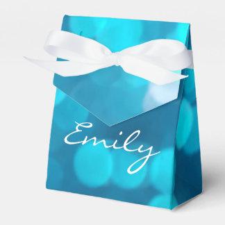 Elegant Bokeh Blue Turquoise Circles Pattern Favour Box