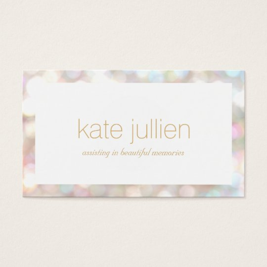Elegant Bokeh Event and Beauty Stylist Business Card