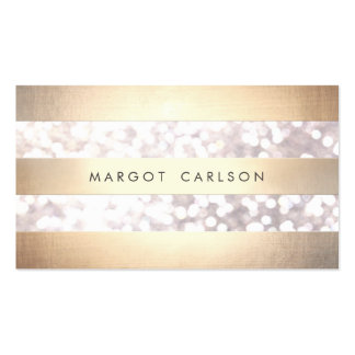 Elegant Bokeh Gold Colored Striped Light Gray Chic Pack Of Standard Business Cards