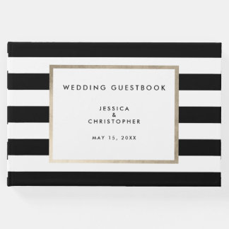 Elegant Bold Black White Stripe Rose Gold Foil Guest Book