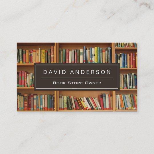 Elegant Bookstore Book Store Owner Bookshelf Business Card Zazzle