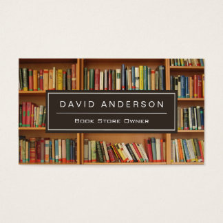 Elegant Bookstore Book Store Owner Bookshelf Business Card