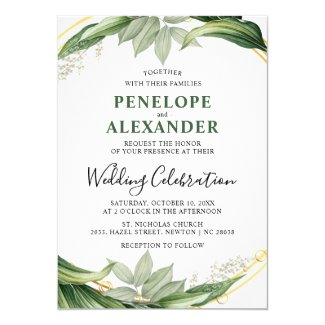 Elegant Botanical Greenery Leaves Wedding Invitation