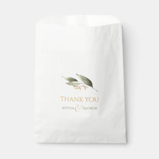 Elegant botanical greenery vintage rustic wedding favour bags