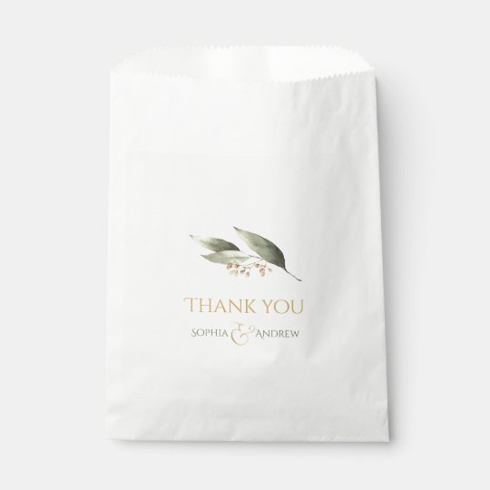 Elegant botanical greenery vintage rustic wedding favour bags