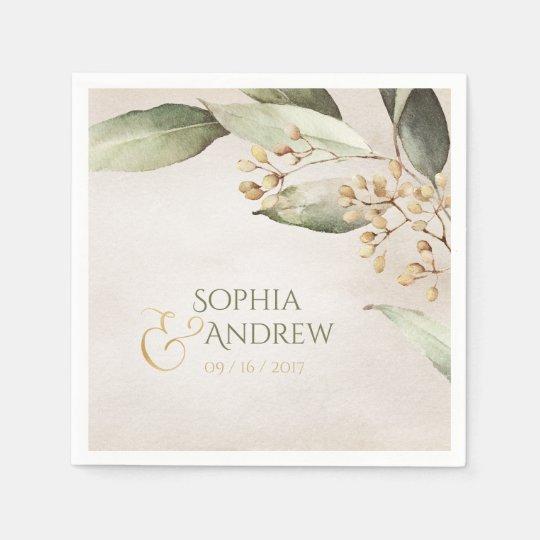 Elegant botanical greenery vintage rustic wedding paper napkin