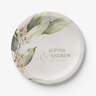 Elegant botanical greenery vintage rustic wedding paper plate