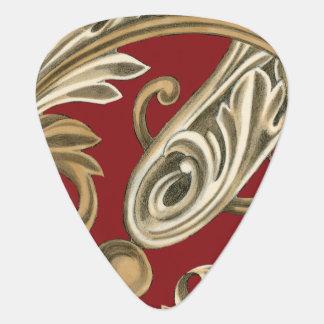 Elegant Botanical Motif with Tan Foliage Plectrum