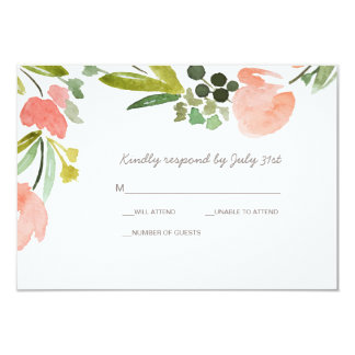 Elegant Botanical Watercolor Floral Wedding RSVP Card