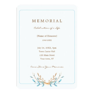 Elegant Bouquet of Leaves Memorial Invitation