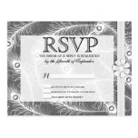 Elegant Bow and Fancy Peacock Feathers Pattern Postcard