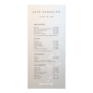 Elegant Branch Salon Price List Service Menu