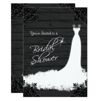 Elegant Bridal Gown on Rustic Black Wood 13 Cm X 18 Cm Invitation Card