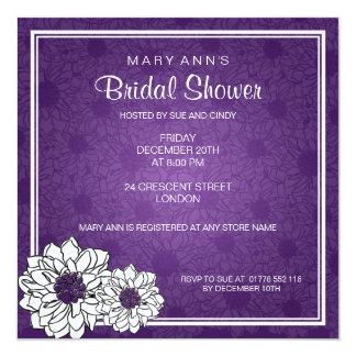 Elegant Bridal Shower Dahlia Floral  Purple Card