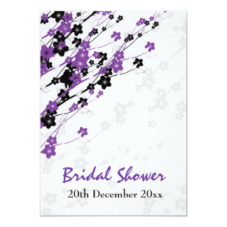 Elegant Bridal Shower Japanese Flowers Purple 13 Cm X 18 Cm Invitation Card