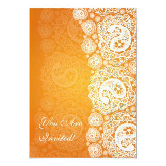 Elegant Bridal Shower Paisley Lace Orange Card