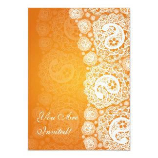 Elegant Bridal Shower Paisley Lace Orange Card