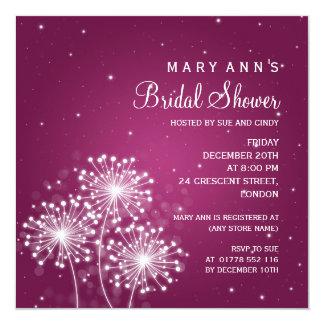 """Elegant Bridal Shower Summer Sparkle Merlot Pink 5.25"""" Square Invitation Card"""