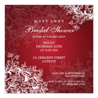 Elegant Bridal Shower Vintage Swirls Red 13 Cm X 13 Cm Square Invitation Card
