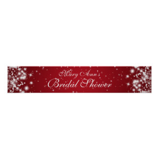 Elegant Bridal Shower Winter Sparkle Red Poster