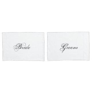 Elegant Bride and Groom Bridal Bed Pillowcases