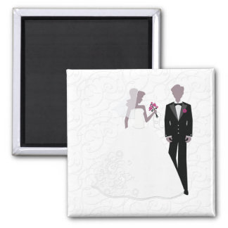 Elegant Bride and Groom Square Magnet