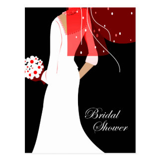 elegant bride bridal shower postcard