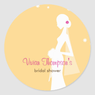 Elegant Bride Favor Sticker /Envelope Seal-Mustard