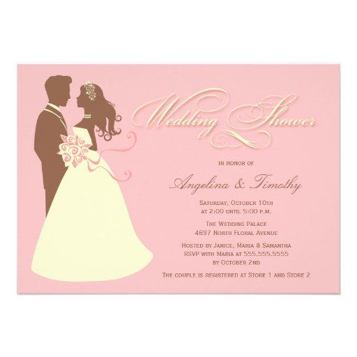 Elegant bride pink brown wedding shower invitation